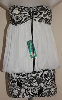Nicol Olivier Black / White Strapless Beach Dress
